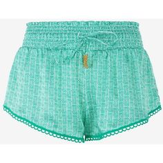Paloma Blue Abstract Print Silk Shorts: Emerald ($139) ❤ liked on Polyvore featuring shorts, green, green shorts, drawstring shorts, silk shorts, elastic waist shorts and beaded shorts