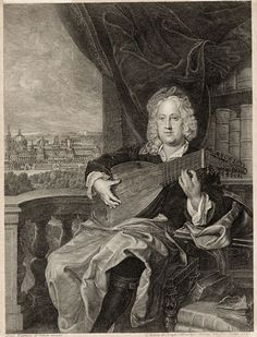 Portrait of Count Johann Adam Graf von Questenberg playing the lute. Engraving. Joan Kuperxi (Jan Kupecky