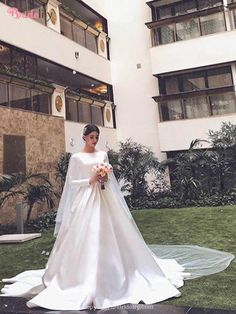 Simple Ball Gown Wedding Dresses Long Sleeve Boat Neck Puffy Bridal Gowns · Babybridal · Online Store Powered by Storenvy Puffy Wedding Dresses, Lace Wedding Dress With Sleeves, Wedding Dresses Plus Size, Long Sleeve Wedding, Lace Sleeves, Bridal Gowns, Wedding Gowns, Marie, Ball Gowns