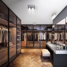 Best Modern Closet Design, For you fashion lovers and the latest clothing collection, the closet is a favorite furniture that is certainly needed at home. Of course, the cabinet is not only for clo… Walk In Closet Design, Bedroom Closet Design, Closet Designs, Bedroom Designs, Modegeschäft Design, Design Case, Design Ideas, Design Loft, Luxury Wardrobe