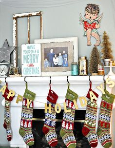 Our Christmas Mantel - my love of gold and vintage! www.thirtyhandmadedays.com