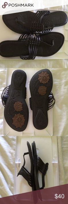 EUC sandals Never worn black sandals...slip-ons with braided strapped design...leather upper & linings...balance man made...padded soles for extra comfort...tag says size 8 / 39...great brand Born Shoes Sandals