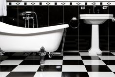 Bathroom Inspiration. 20 Exceptional Black And White Bathroom Contemporary Designs: Amusing Black And White Bathroom Tile Floors Like Chess Ideas With Soaking Foot White Porcelain Tub And Pedestal Sink In Retro Classic Bathroom Designs