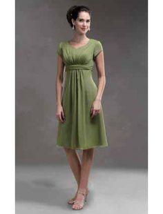 Belt Chiffon V Ausschnitt Knielange Grünes Kleider