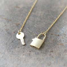Key and Lock Necklace in gold by laonato on Etsy, $21.00