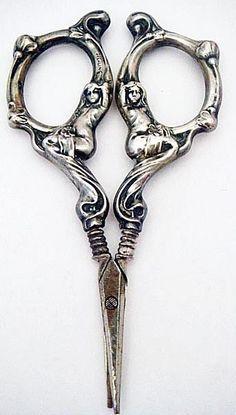 Antique Art Nouveau Sewing Desk Scissors Sterling Silver Figural Maidens (#5086 #American