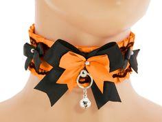 Orange satin choker kitten play collar lolita by FashionForWomen