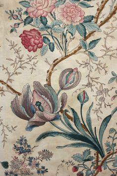 Antique French block printed Indienne glazed fabric c1850 arborescent design