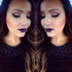 Fall makeup... love the eye shadow. The super dark hair and lips looks too goth.