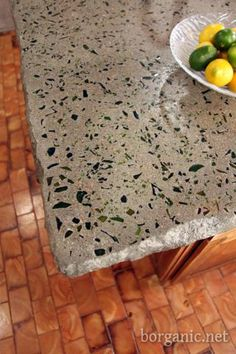 Do yourself concrete and wine bottle counter top.
