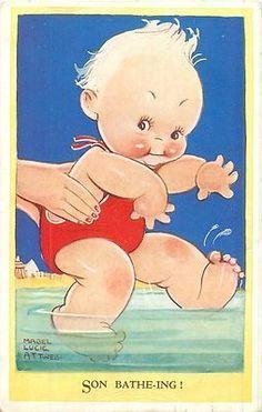 1951 Postcard - Mabel Lucie Attwell - Son Batheing