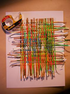 Paper weaving (tip: use a paper shredder to get the thin paper strips)