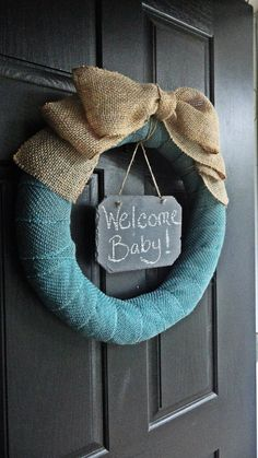 Choose Your Colors - Custom - Burlap and Chalkboard Wreath - Welcome Baby Wreath - Housewarming Wreath, Anytime Wreath, Wedding Wreath