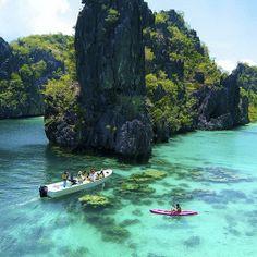 palawan the philippines! El-Nido-Miniloc-Island-Resort Palawan Philippines-Kayaking-at-the-Big-Lagoon Palawan Island, El Nido Palawan, Coron Palawan, Boracay Island, Les Philippines, Philippines Travel, Philippines Palawan, Dream Vacations, Vacation Spots