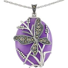 Lord & Taylor Lavender Quartz and Sterling Silver Pendant Necklace ($145) ❤ liked on Polyvore featuring jewelry, necklaces, purple, pendant necklace, sterling silver pendant necklace, butterfly pendant, purple pendant necklace and sterling silver necklace