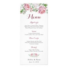 Burgundy Pink Chic Rose Floral Wedding Menu
