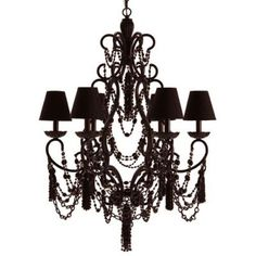 Want a black chandelier above our bed, and this would be a gorgeous option!