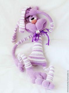 Купить Вязаная игрушка заяц Кекс - бледно-сиреневый, интерьерная кукла, интерьерная игрушка, заяц