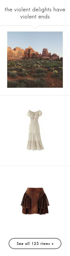 """""""the violent delights have violent ends"""" by littlewounds ❤ liked on Polyvore featuring dresses, gowns, medieval, brown gown, brown evening gowns, brown dress, brown evening dress, skirts, mini skirts and bottoms"""
