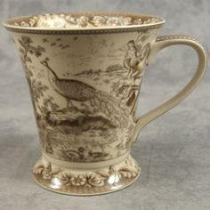 BROWN & CREAM TRANSFERWARE FRENCH COUNTRYSIDE PEACOCK TOILE MUG CUP ~ 12 Ounce ~