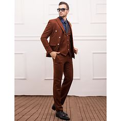 poliéster+marrón+Slim+Fit+traje+de+tres+piezas+–+EUR+€+93.09