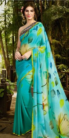Aquatic Blue And Multi-Color Georgette Saree.