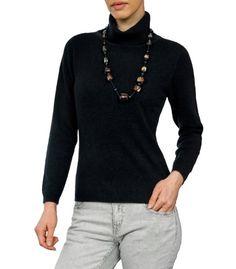 Wool Overs Women's Cashmere & Merino Slinky Turtleneck Sweater Black Large