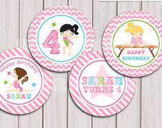 Gymnastic Cupcake Toppers, Gymnastic Cake Toppers, Gymnastic Birthday Printables, Gymnastic party printable Printable DIY Girl