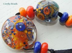 Handmade Lampwork Focal beads 'Vibrant' Creeky by CreekyBeads