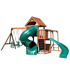 Features:  -Two slides for double the adventure.  -Loaded with activities to keep your children active and engaged in play.  -Set includes all wood, hardware, and instructions needed to assemble play
