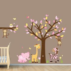 Girl Jungle Wall Decal, Nursery Wall Decals, Monkey,Pink, Yellow Zebra Stickers (Custom Choices). $84.99, via Etsy.