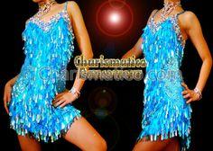BLUE SEXY DIVA Sequin Showgirl DANCE Dress