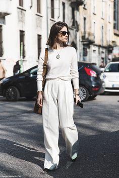 Milan_Fashion_Week-Fall_Winter_2015-Street_Style-MFW-Maria_Dueñas_Jacobs-White_Outfit-