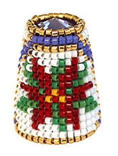 RP: Beaded Thimble with Swarovski Rivoli Top - Delica Beads December Poinsettia  - etsy.com