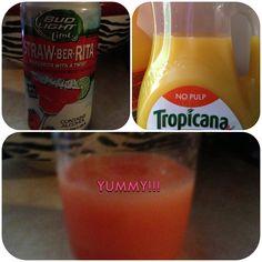 Bud light straw-ber-Rita mixed with tropicana is yummy!!