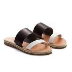 SANDALS :: SOJO :: SoJo leather sandal espadrille, Electra black with white