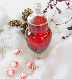 Christmas Red and Clear Glass Candy Dish by RosebudsOriginals, $14.95