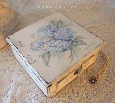 SOLD  Shabby Romantic Antique Hand painted Hydrangea Keepsake Box .Available at www.debicoules.com
