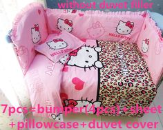 Promotion! 6/7PCS Hello Kitty baby bedding set 100% cotton curtain crib bumper washable, 120*60/120*70cm