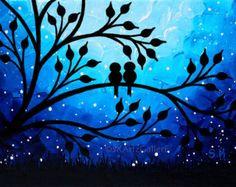 Love Birds Art Print Birds on Tree Wall Art Nightscape Art Blue Artwork Little Love Birds Painting Print Starry Night Art Giclee print - Art Painting Bird Painting Acrylic, Love Birds Painting, Purple Painting, Painting Prints, Art Prints, Painting Art, Oil Pastel Art, Oil Pastel Drawings, Starry Night Art