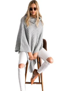 High Neck Women Fashion Grey Sweater, New Arrival Fantastic Heaps Collar  #Unbranded #Sexy