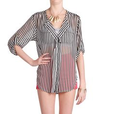 Pinstripe Sheer Blouse by Lovely Day