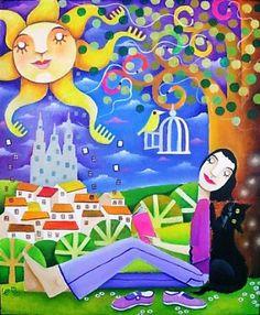 leandro lamas: 07/08 Book People, Pretty Art, Whimsical Art, Cute Illustration, Beautiful Cats, Love Art, Folk, Digital Art, Doodles