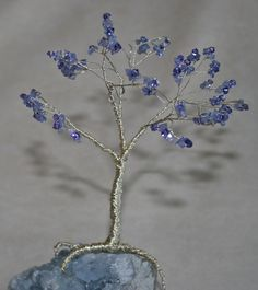 how to make a wire tree sculpture | Tanzanite on silver tree mounted on Celestite (Madagascar)