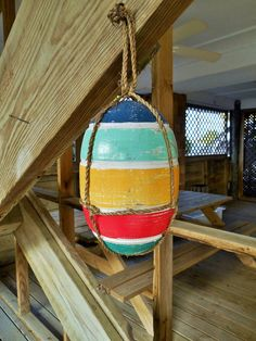 Nautical Wood Buoy Striped by searchnrescue2 by searchnrescue2, $28.00