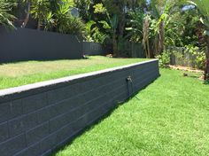 Austral Heron Charcoal Split face Retaining Wall - Little mountain - by iLandscape.com.au Pool Ideas, Yard Ideas, Sleeper Wall, Shed Landscaping, Outdoor Ideas, Outdoor Decor, Retaining Walls, Block Wall, Home Reno