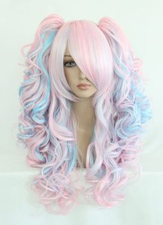 55cm/70cm Long Pink and Blue Multi-Color Beautiful Lolita Wig [LW008] - US$29.99 : Shop for cheap deluxe zentai suit & cosplay costumes-Cosplayexpert.com