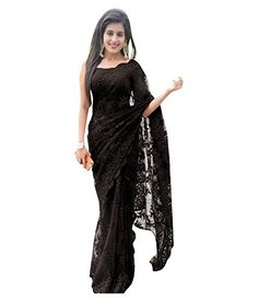 c6c6351090 Reeva Trendz Net Saree With Blouse Piece (RTSN-111_Black_Free Size): Amazon.in:  Clothing & Accessories