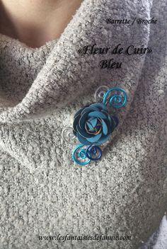 Bracelet fleur, cuir froissé bleu grec   perles de turquoise. Création  bijou fait main par Créations Lauren…   Bracelets, bijoux et créations  fait-main 1ab1f47e7c3