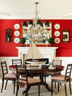 red walls - New York dining room by Anthony Barrata. Red Interiors, Colorful Interiors, House Interiors, Deco Marine, Deco Originale, Deco Floral, American Decor, Nautical Home, Red Walls
